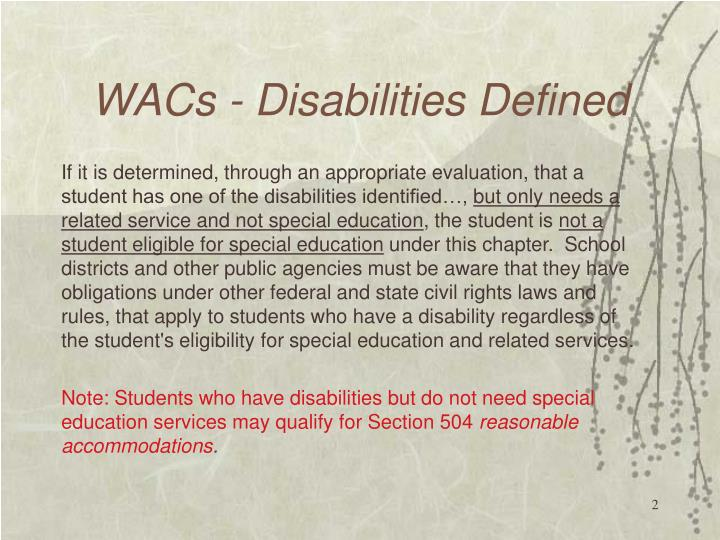 Wacs disabilities defined1