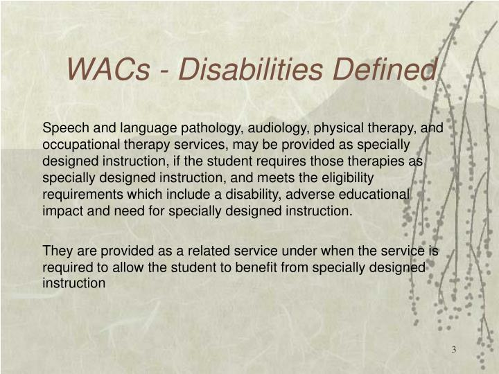 Wacs disabilities defined2