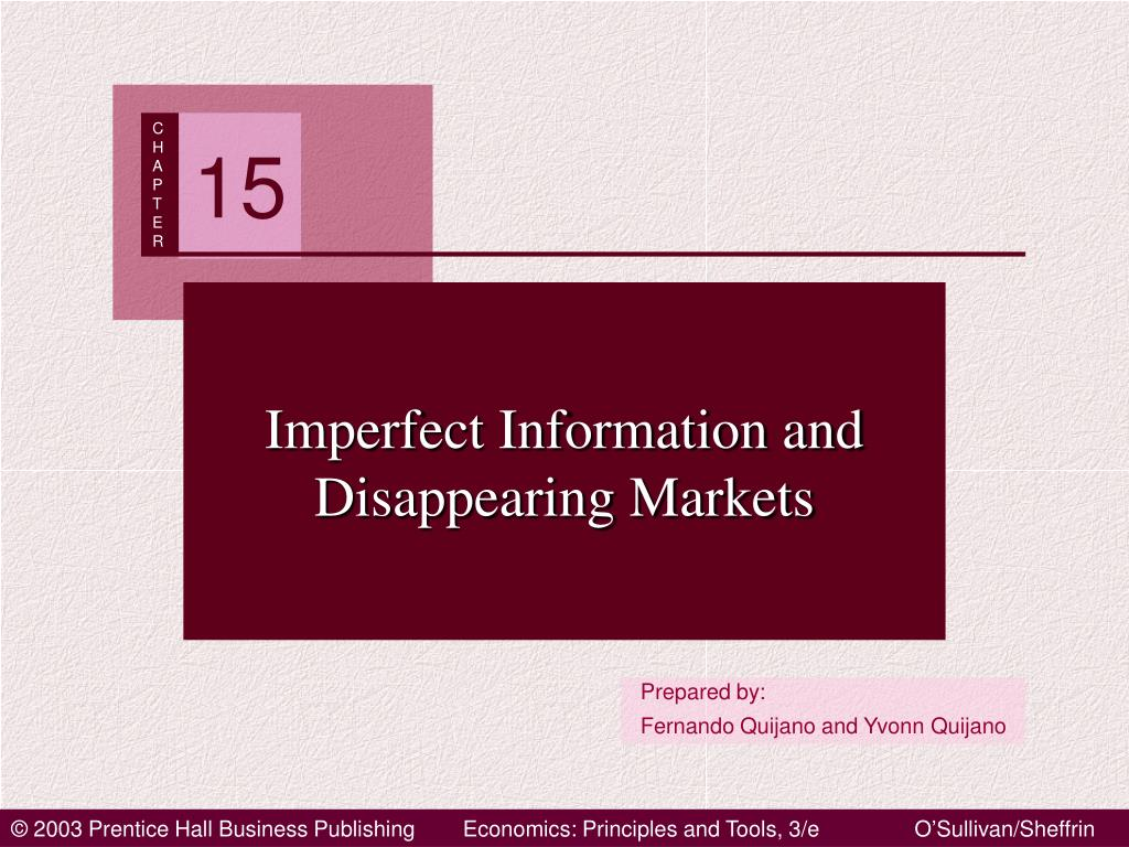 imperfect information and disappearing markets l.