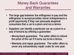 money back guarantees and warranties