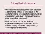 pricing health insurance