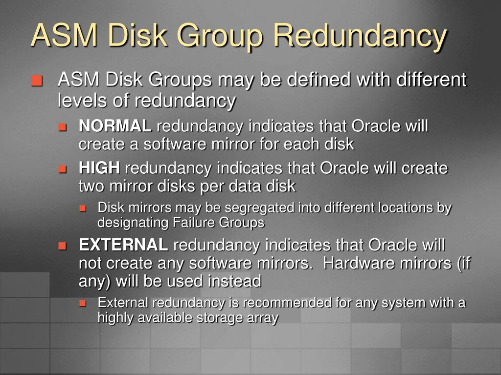 ASM Disk Group Redundancy