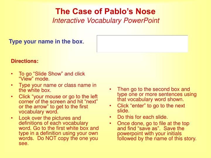 the case of pablo s nose interactive vocabulary powerpoint n.