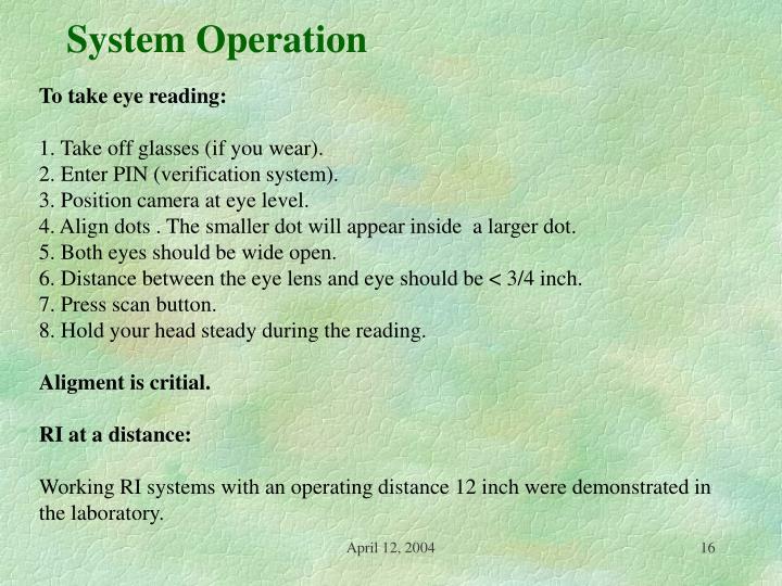 System Operation