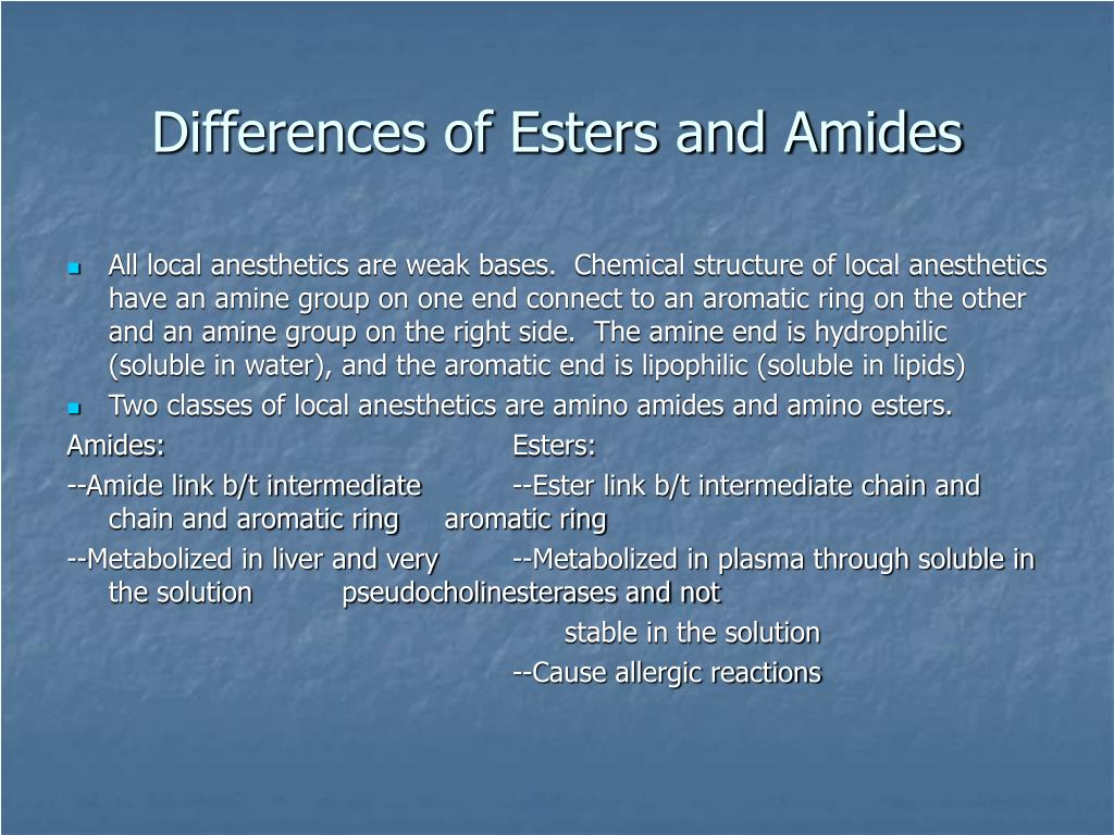 Differences of Esters and Amides