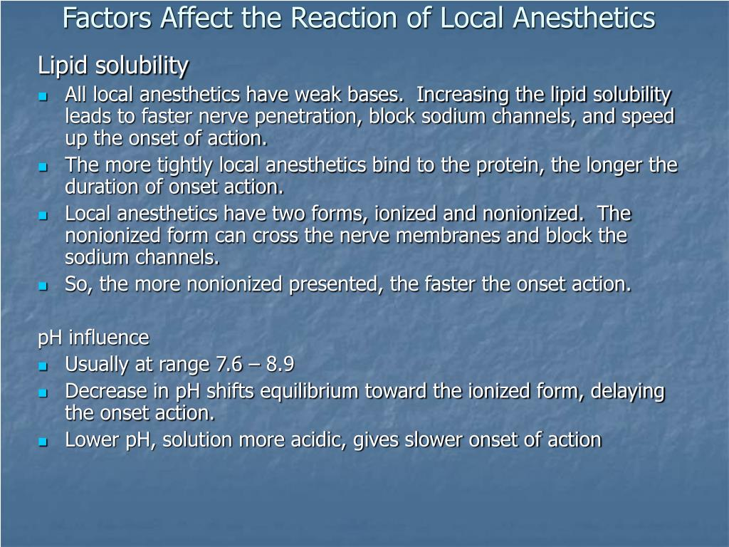 Factors Affect the Reaction of Local Anesthetics