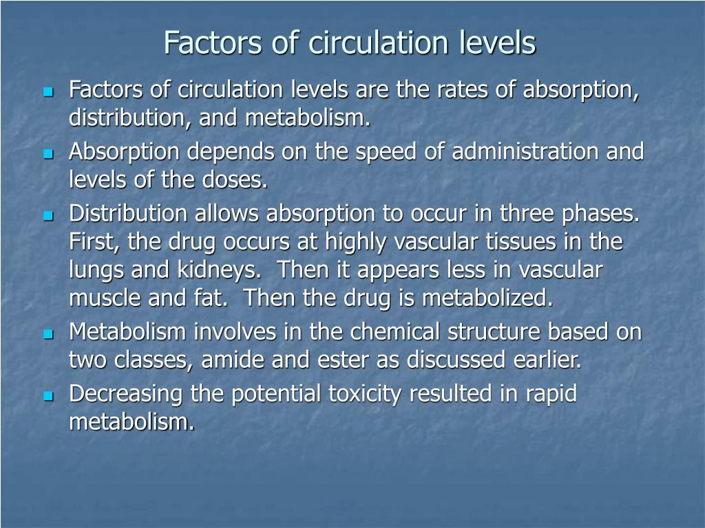 Factors of circulation levels
