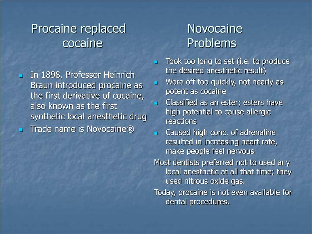 In 1898, Professor Heinrich Braun introduced procaine as the first derivative of cocaine, also known as the first synthetic local anesthetic drug