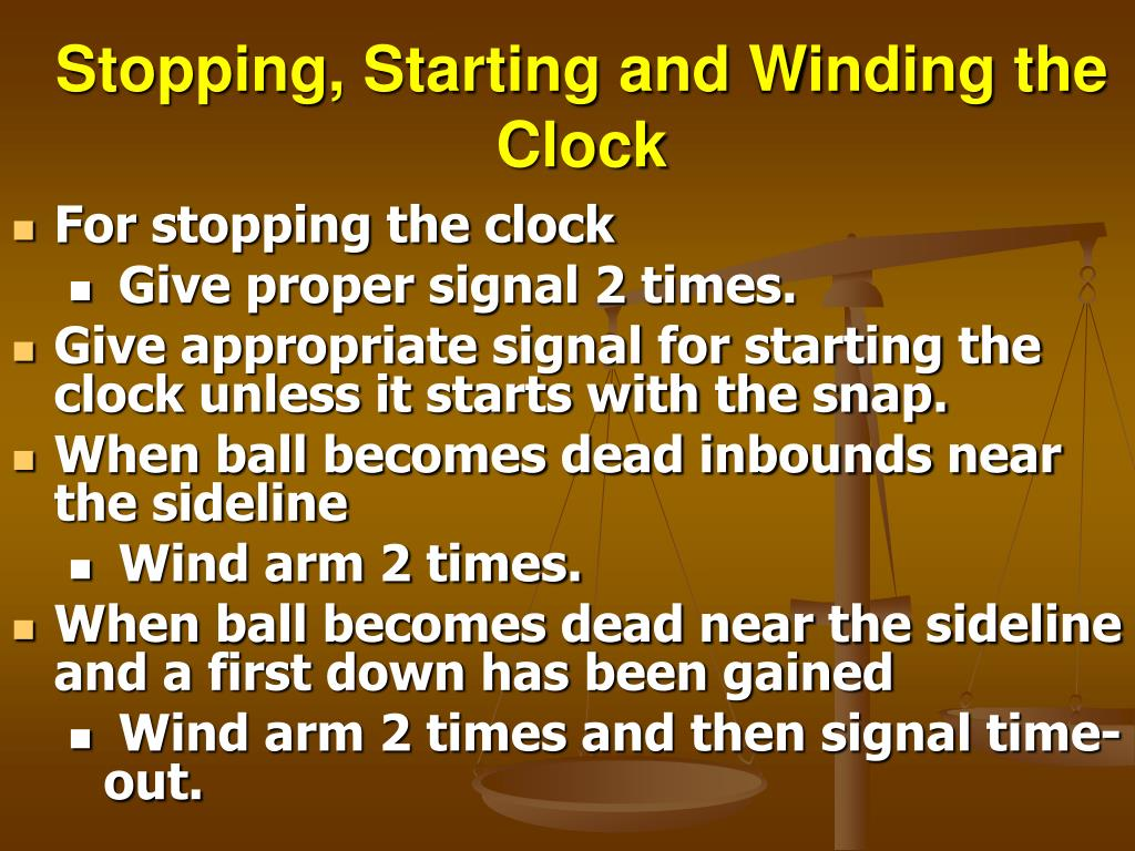 Stopping, Starting and Winding the Clock