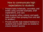 how to communicate high expectations to students