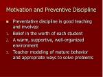 motivation and preventive discipline
