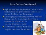 sara porter continued