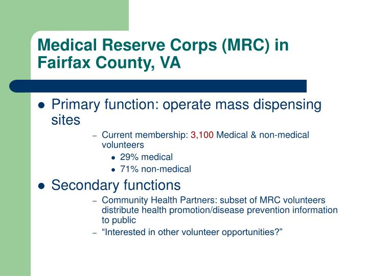 Medical reserve corps mrc in fairfax county va
