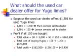 what should the used car dealer offer for yugo limos