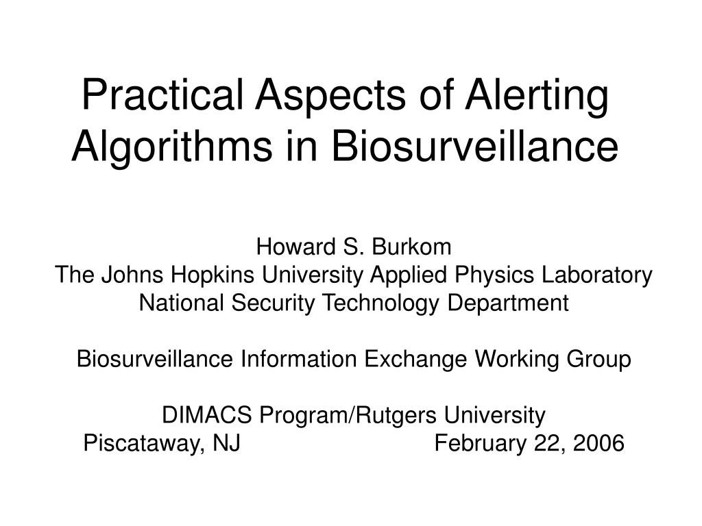 Practical Aspects of Alerting Algorithms in Biosurveillance
