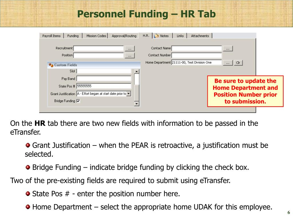 Personnel Funding – HR Tab