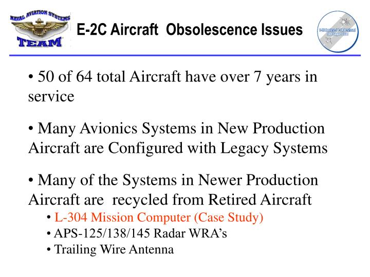 E 2c aircraft obsolescence issues