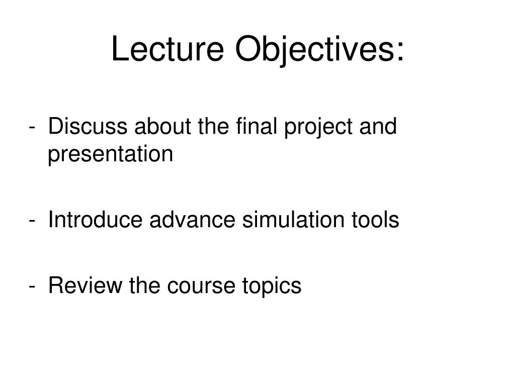 lecture objectives l.