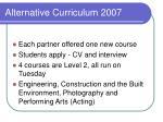 alternative curriculum 2007