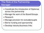 the role of the partnership manager
