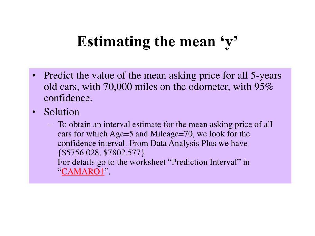 Estimating the mean 'y'