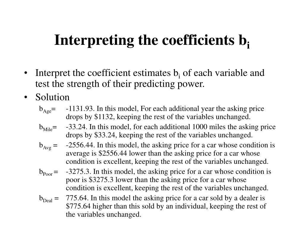 Interpreting the coefficients