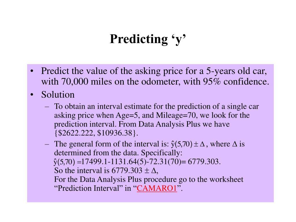 Predicting 'y'
