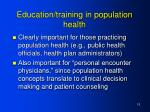 education training in population health