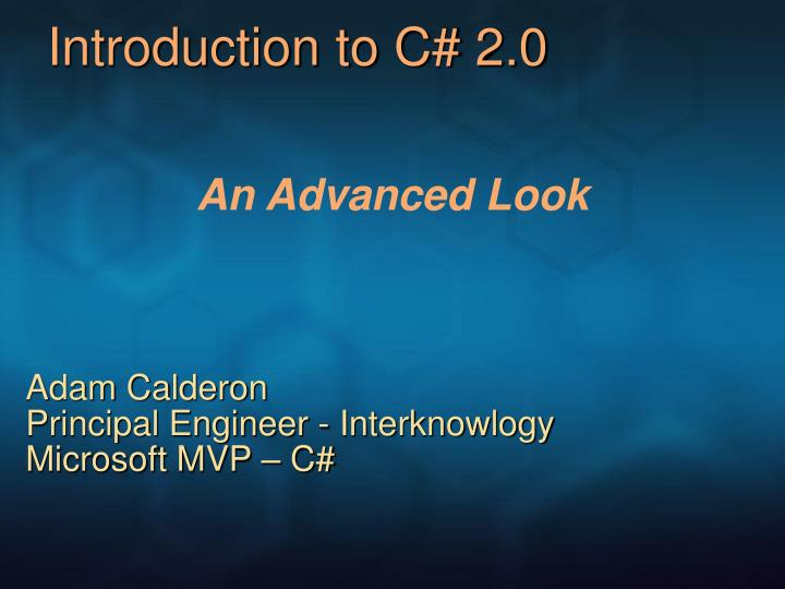Introduction to c 2 0