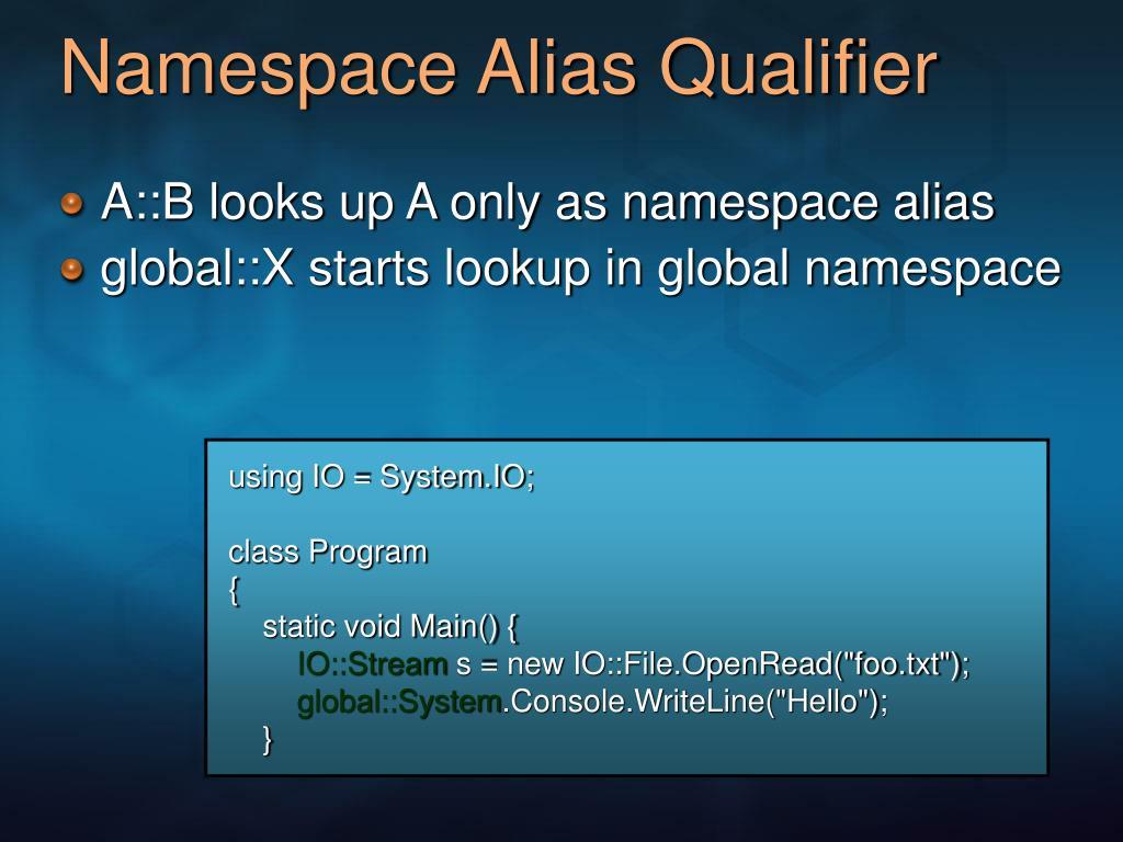 Namespace Alias Qualifier