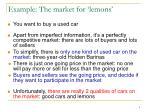 example the market for lemons
