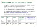 warranties and the market for lemons