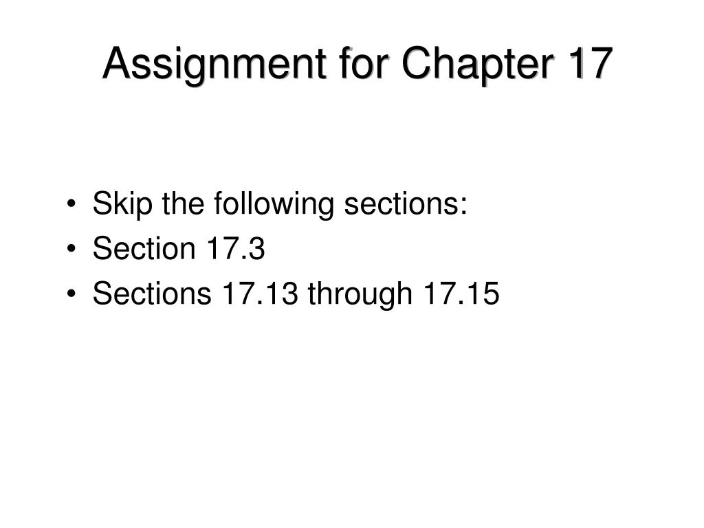 Assignment for Chapter 17