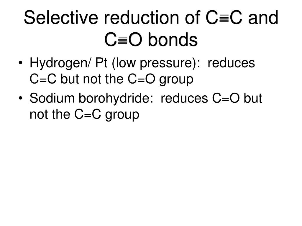 Selective reduction of C=C and C=O bonds