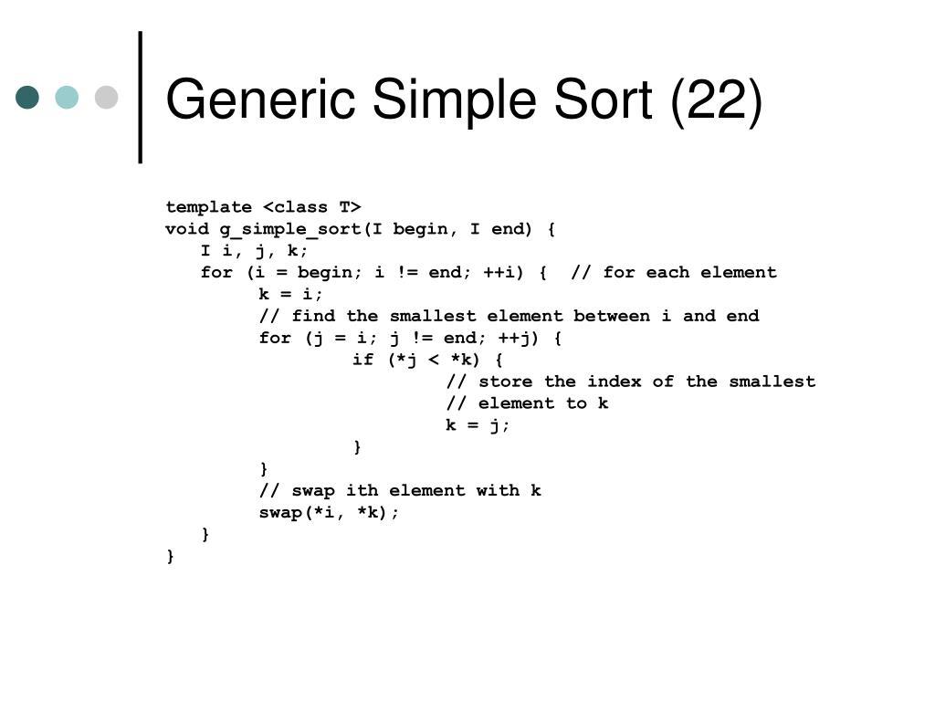 Generic Simple Sort (22)