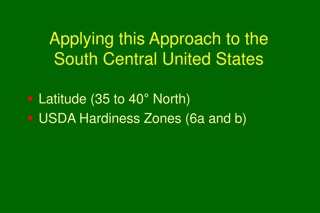 Applying this Approach to the South Central United States