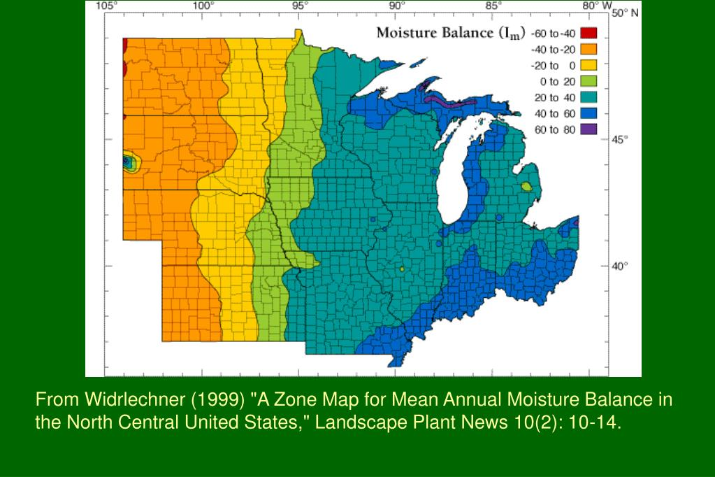 """From Widrlechner (1999) """"A Zone Map for Mean Annual Moisture Balance in the North Central United States,"""" Landscape Plant News 10(2): 10-14."""