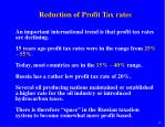 reduction of profit tax rates