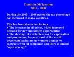trends in oil taxation 2003 2008