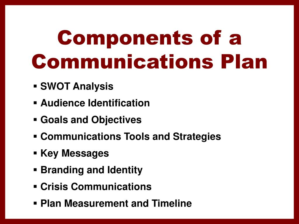 Components of a Communications Plan