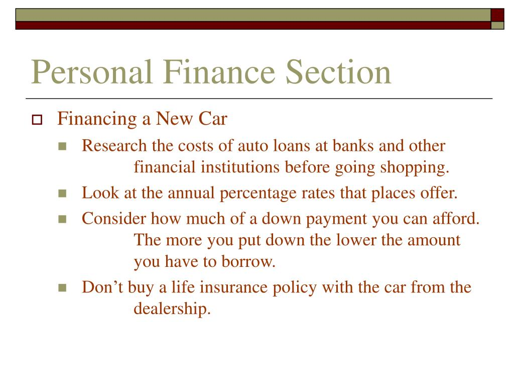 Personal Finance Section