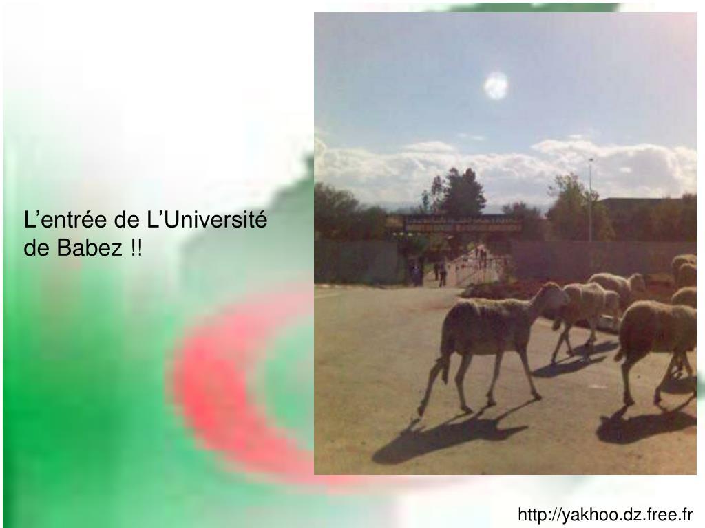 L'entrée de L'Université de Babez !!