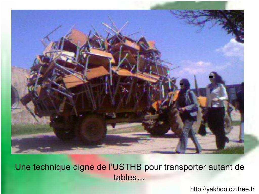 Une technique digne de l'USTHB pour transporter autant de tables…