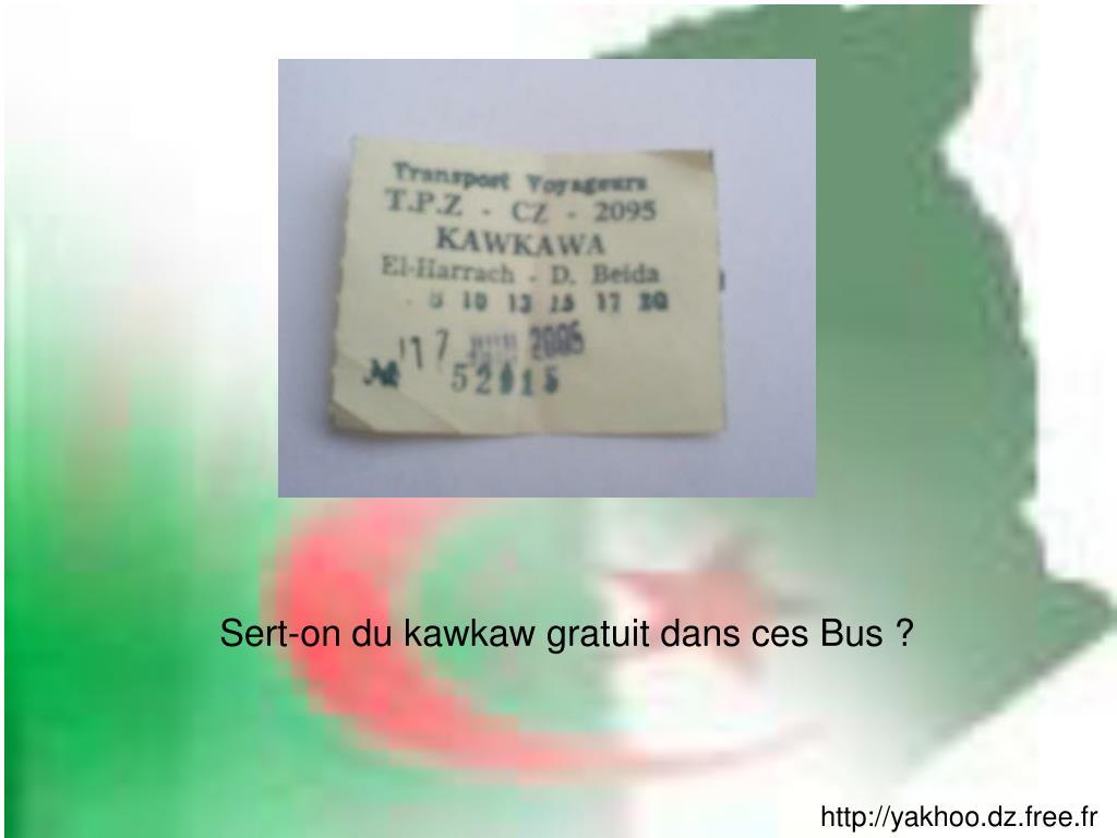 Sert-on du kawkaw gratuit dans ces Bus ?