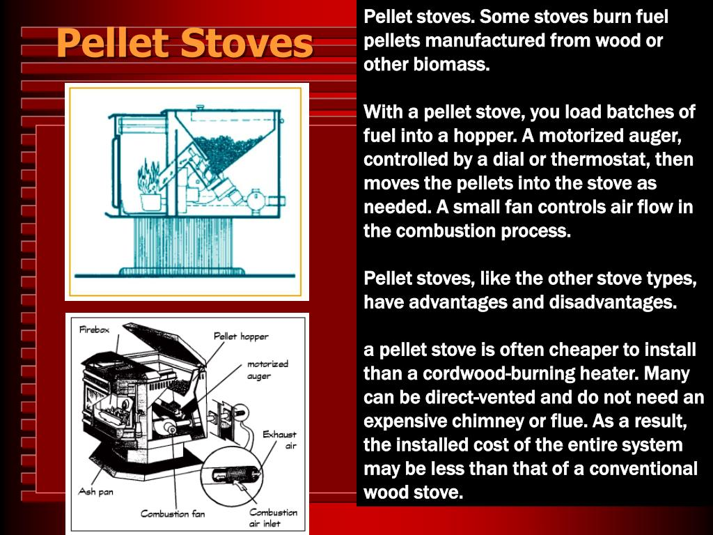 Pellet stoves. Some stoves burn fuel pellets manufactured from wood or other biomass.