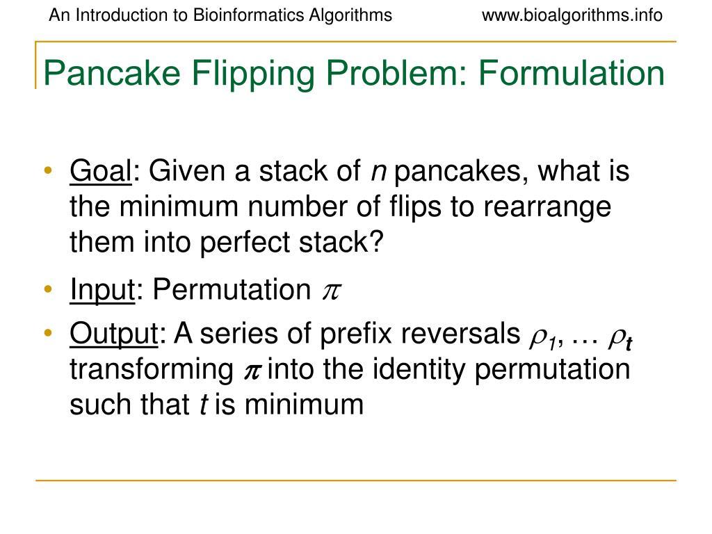 Pancake Flipping Problem: Formulation