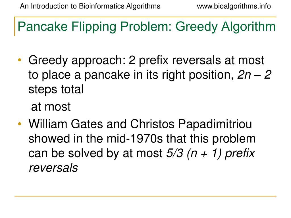 Pancake Flipping Problem: Greedy Algorithm