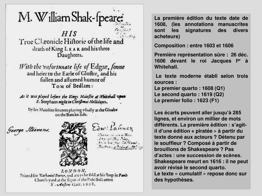 La première édition du texte date de 1608, (les annotations manuscrites sont les signatures des divers acheteurs)