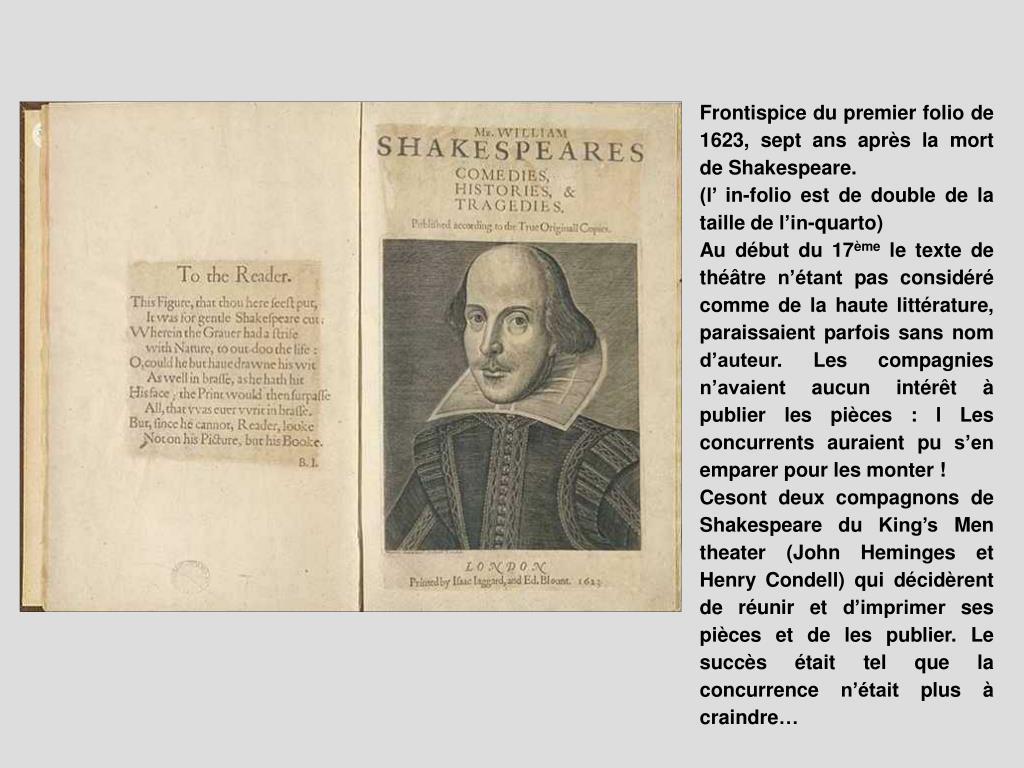 Frontispice du premier folio de 1623, sept ans après la mort de Shakespeare.