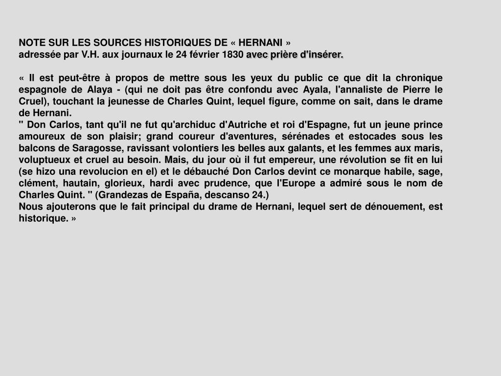 NOTE SUR LES SOURCES HISTORIQUES DE « HERNANI »